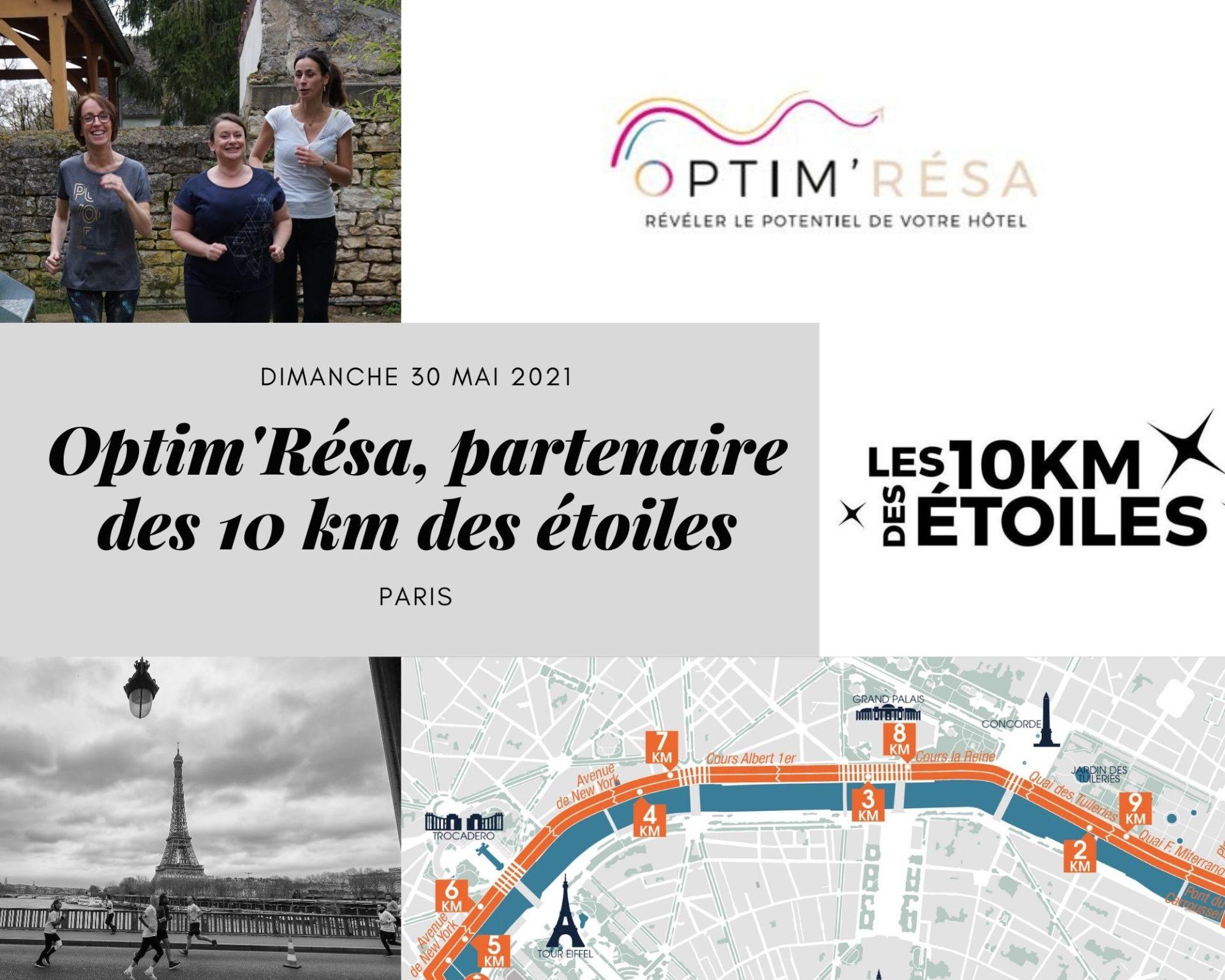 Optim'Résa sur la ligne de départ du 10 km des étoiles à Paris